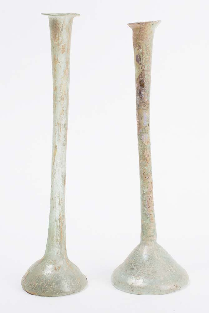 Lot of 2 Ancient Roman Glass Bottles c.1st century AD