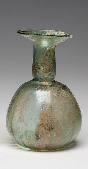 Ancient Roman Glass Bottle Ca. 1st - 3rd century A.D.