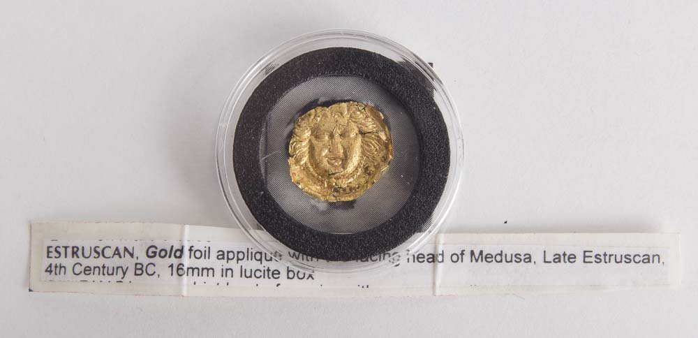 Ancient Etruscan Gold Foil Applique with Medusa c.4th c