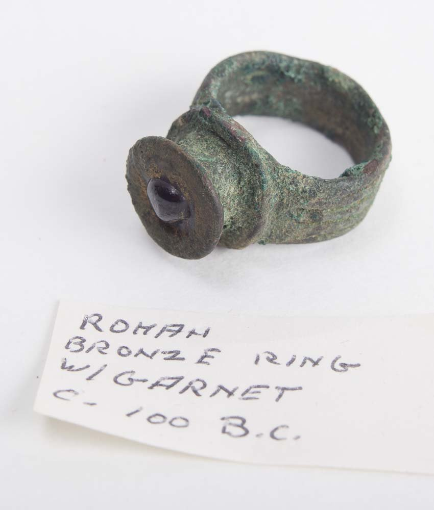 Ancient Roman Bronze Ring with garnet c.1st century AD
