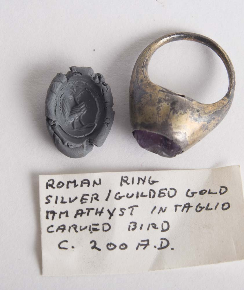 Ancient Roman Silver Ring with Amethyst Intaglio