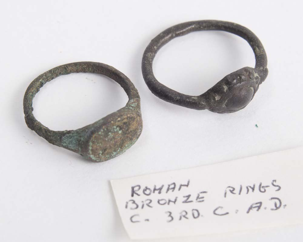 Lot of 2 Ancient Roman Bronze Rings c.2nd-3rd Cent AD