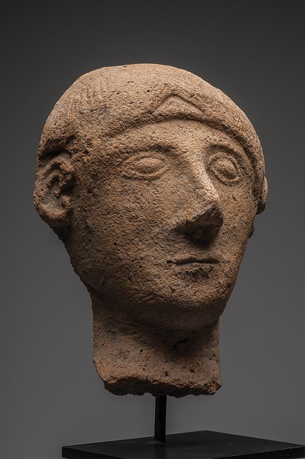Etruscan Pottery Votive Head of a Man Ca. 6th cent BC