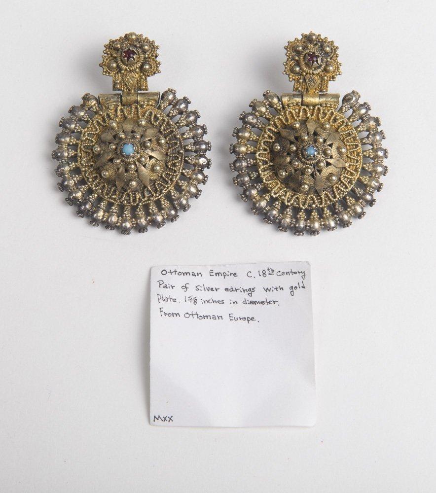 A Pair of Ottoman Turkish Silver Earrings c.18th centur