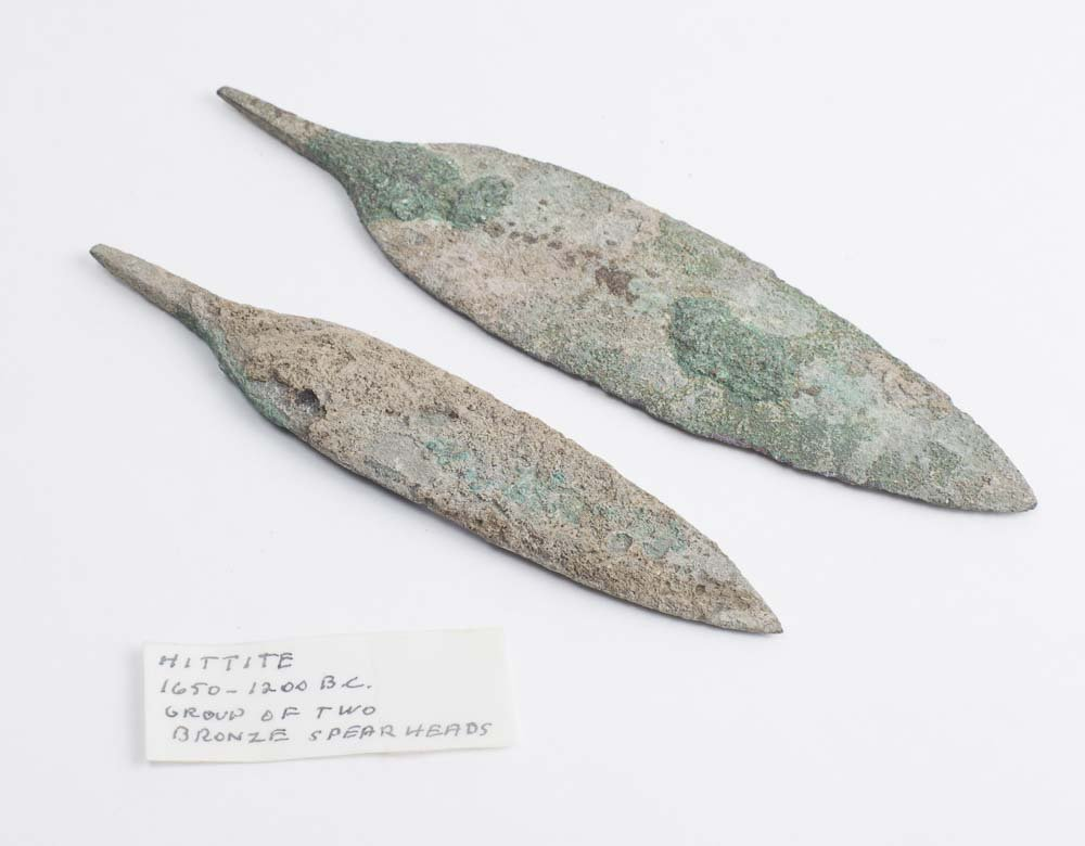 Lot of 2 Ancient Hittite Bronze Spear heads c.1650 BC
