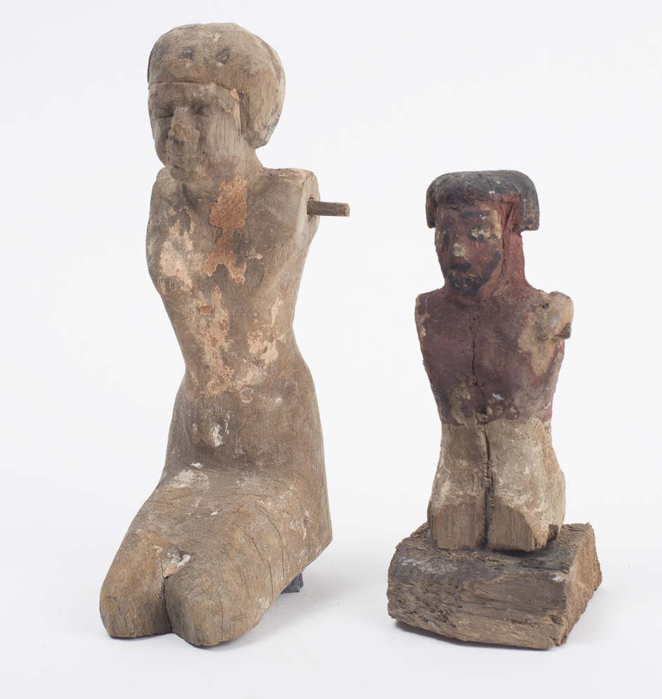 Lot of 2 Ancient Egyptian Model Wooden Figures, Late Pe