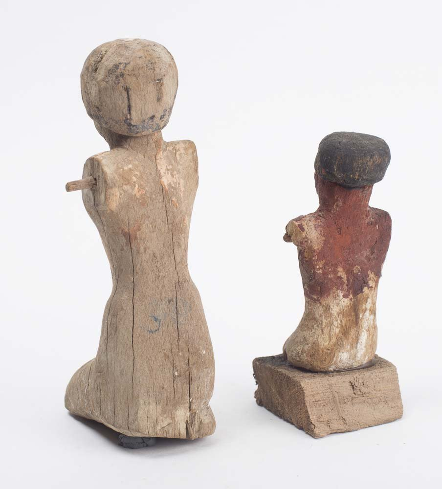 Lot of 2 Ancient Egyptian Model Wooden Figures, Late Pe - 2