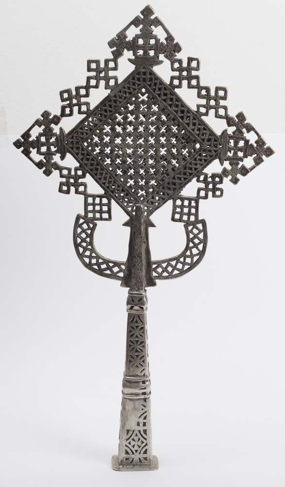 Large Coptic Silver Gilt Copper Cross
