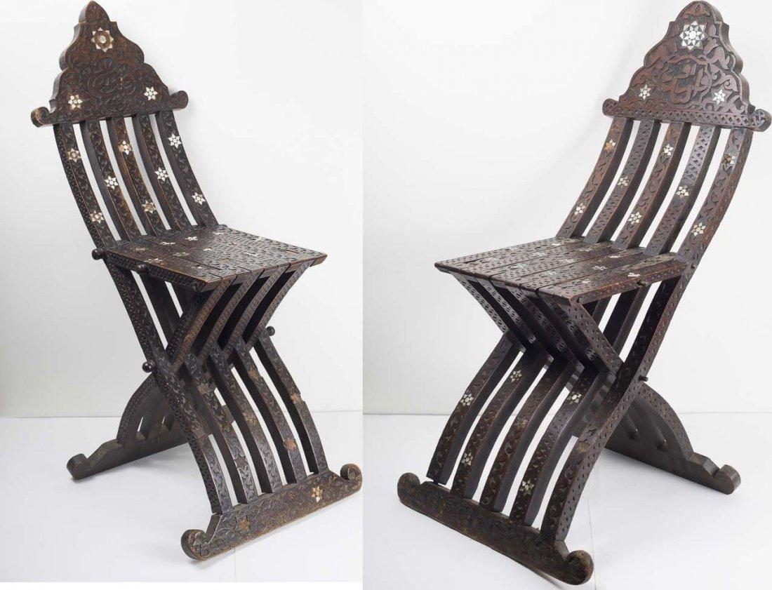 A Pair of 19th century Syrian Moorish Wood chairs - 3