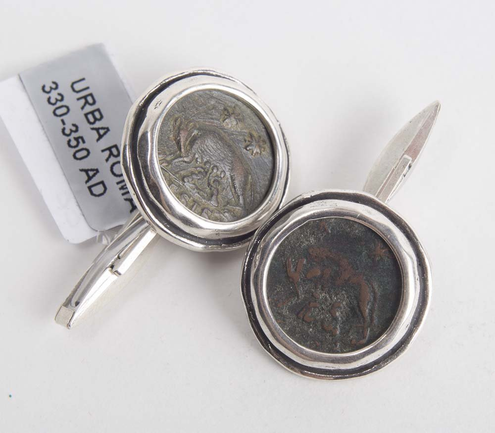 Ancient Roman Bronze coins set in Silver Cuff-links