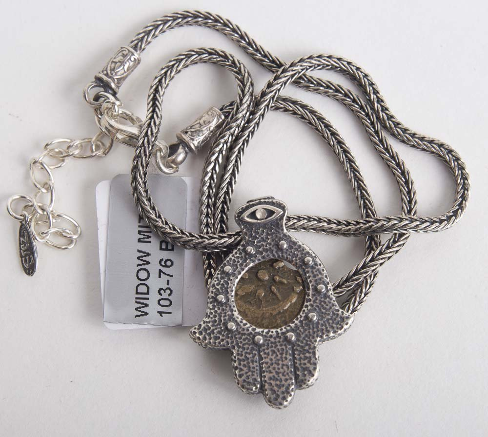 Ancient Widows Mite Bronze coin set in Silver Necklace