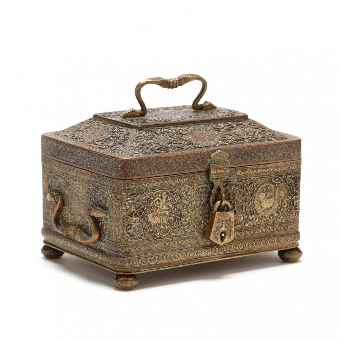 Persian Qajar Copper Jewelry Box c.19th cent AD.