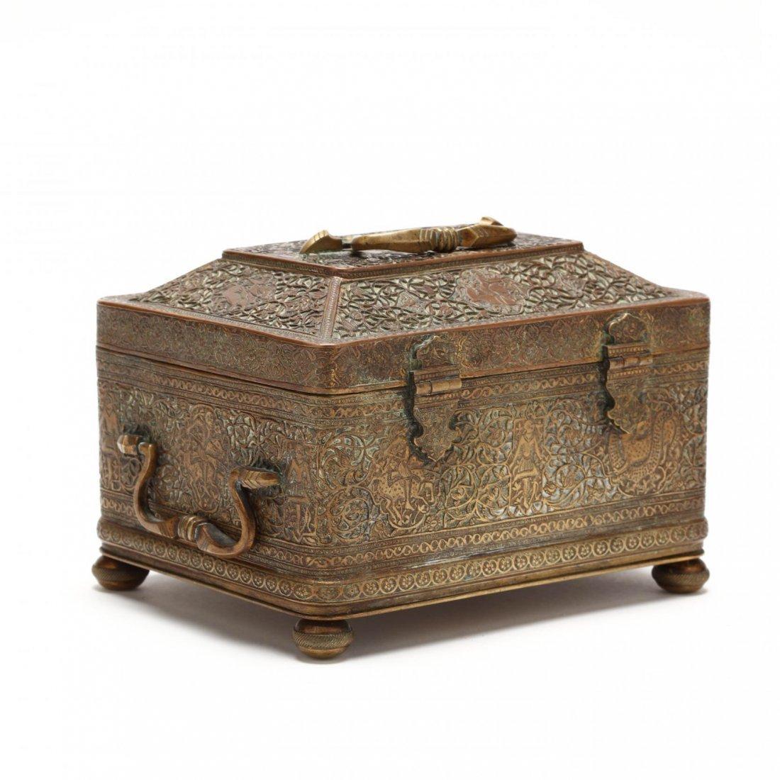 Persian Qajar Copper Jewelry Box c.19th cent AD. - 2