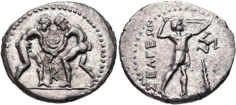 PISIDIA, Selge. C.325-250 BC. AR Stater Naked Wrestlers