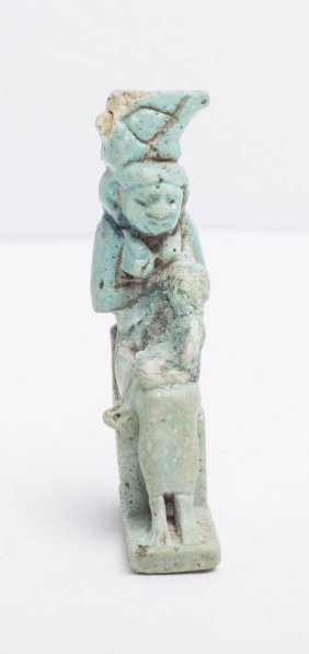 Ancient Egyptian Blue Faience Amulet of Isis c.600 BC