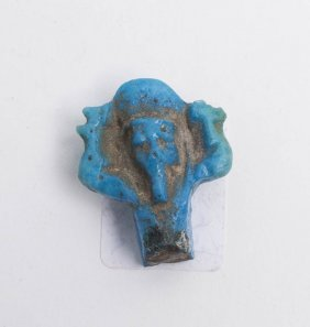 Ancient Egyptian Blue Faience Amulet of Shu c.600 BC