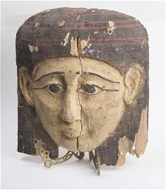 Ancient Egyptian Mummy Wood Mask late Period c.620 BC.
