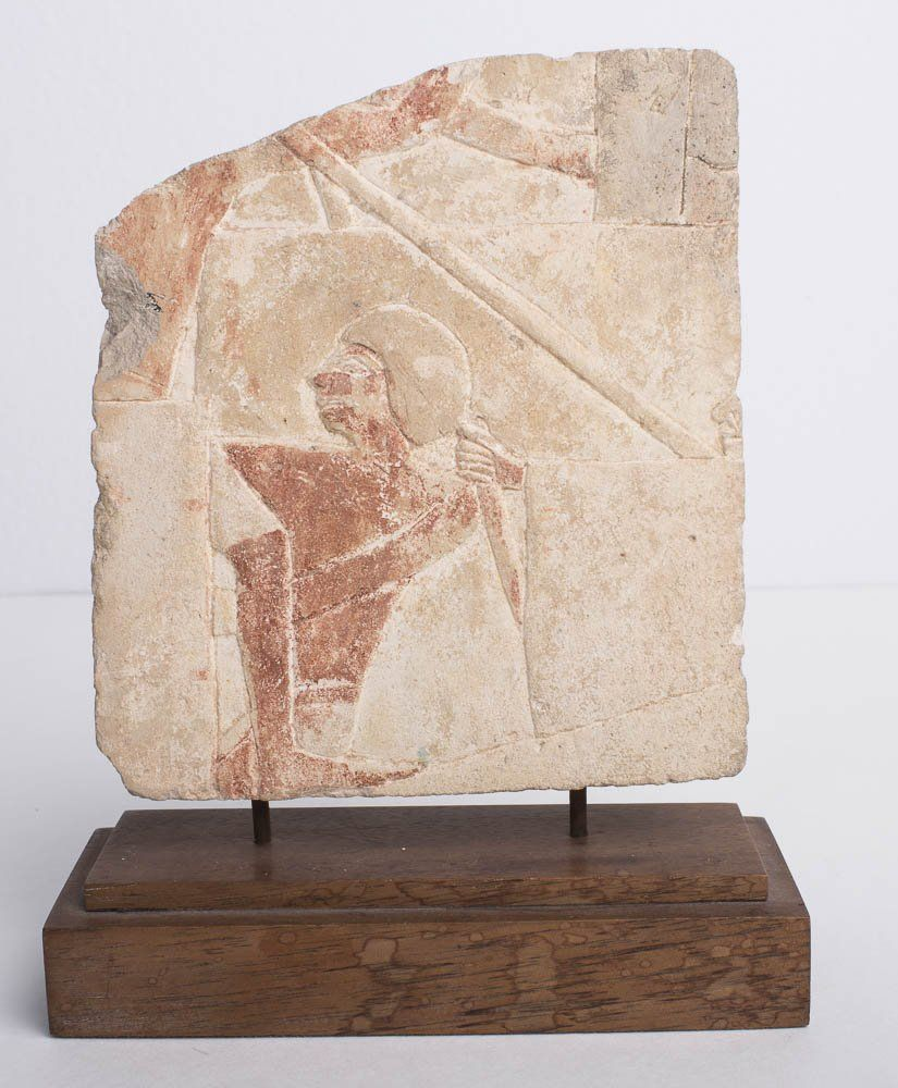 Ancient Egyptian Limestone Relief Late period, ca. 700