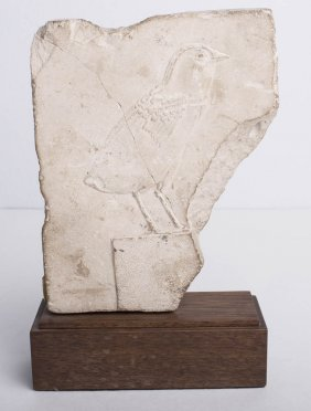 Ancient Egyptian Limestone Relief fragment with a Bird