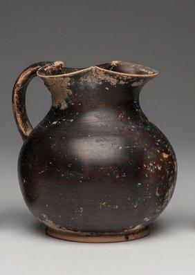 Ancient Apulian Black glazed oinochoe Jug Ca. 350 BC