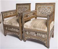 Pair of Ottoman Syrian Bone and Mother-of-Pearl Chairs