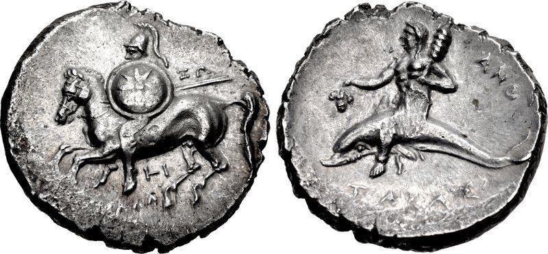 CALABRIA, Tarentum. Circa 280-272 BC. Boy/Dolphin coin