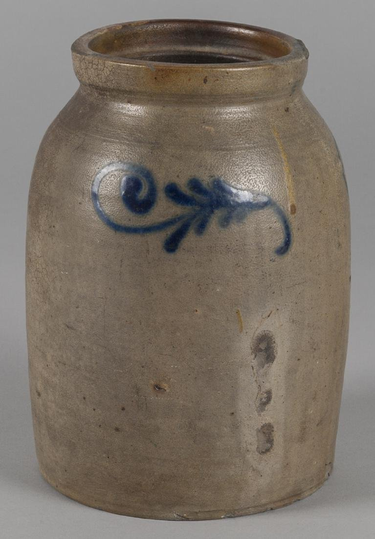 Pennsylvania or New Jersey stoneware crock, 19th