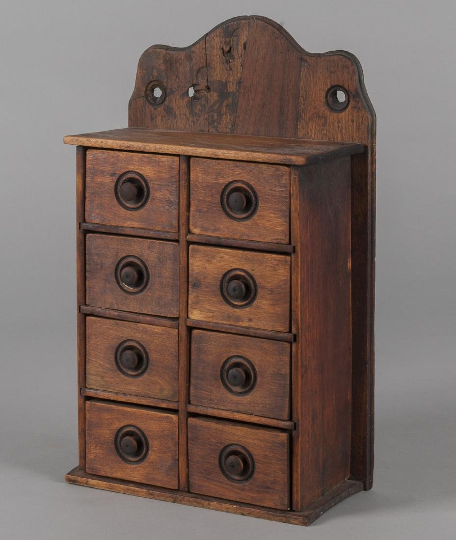 Pine and walnut hanging spice cabinet, late 19th
