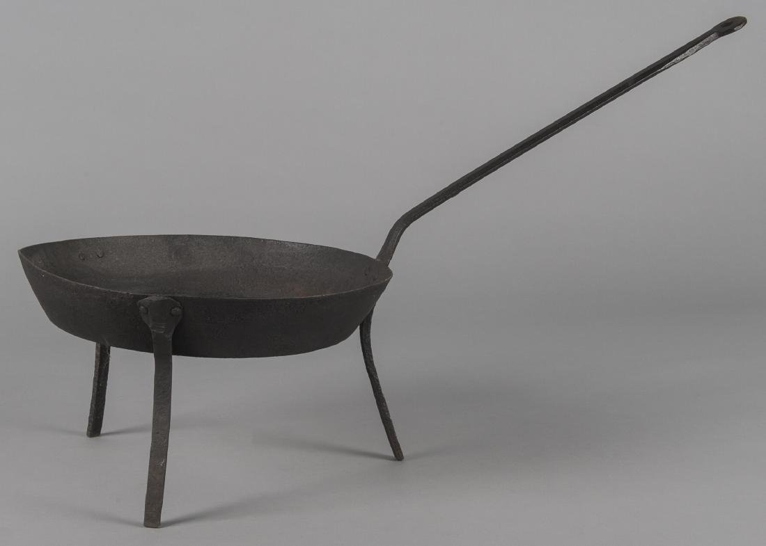 Wrought iron skillet, 19th c., stamped Foster,