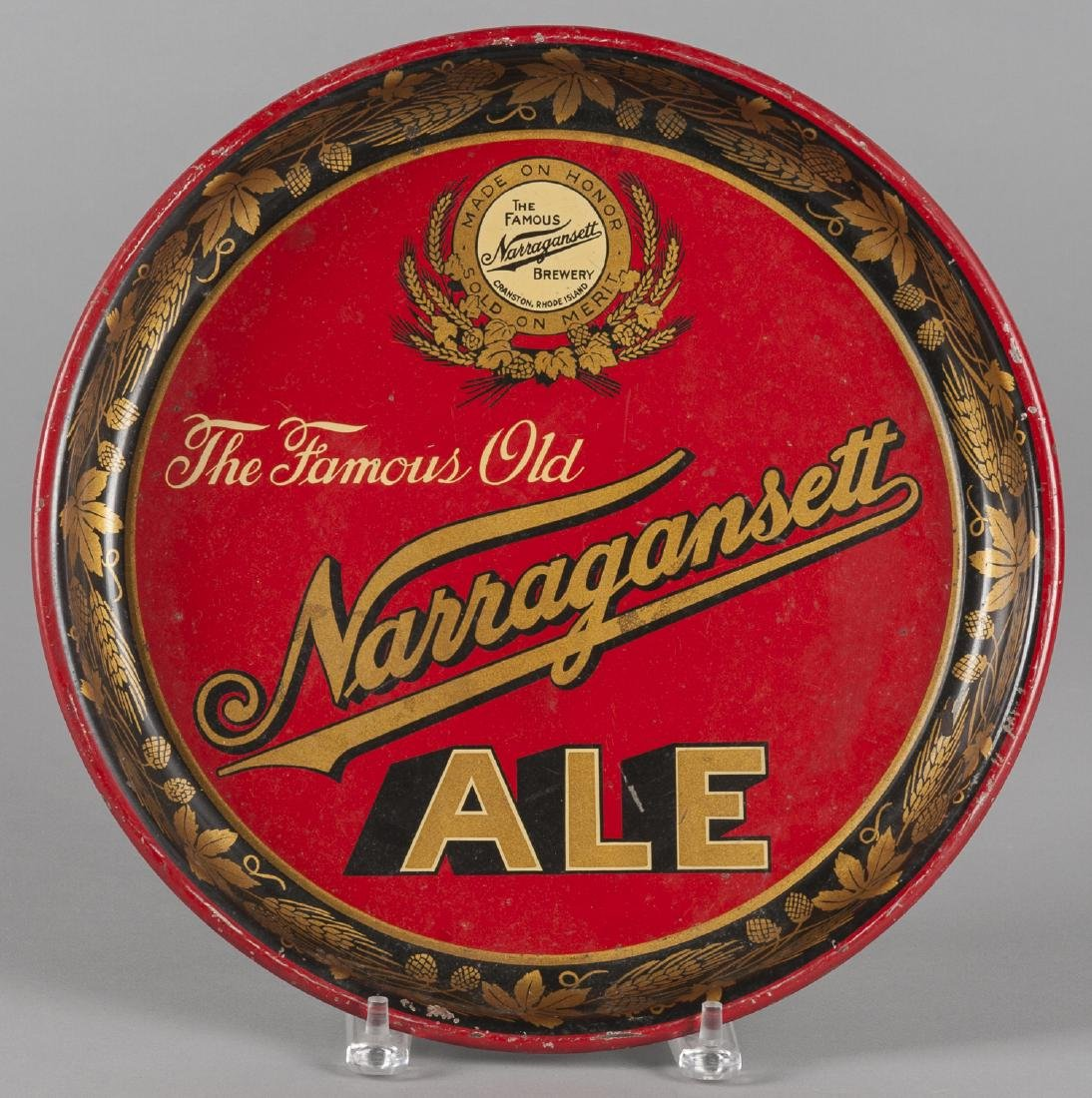 Painted tin tray for Narragansett Ale, Cranston R