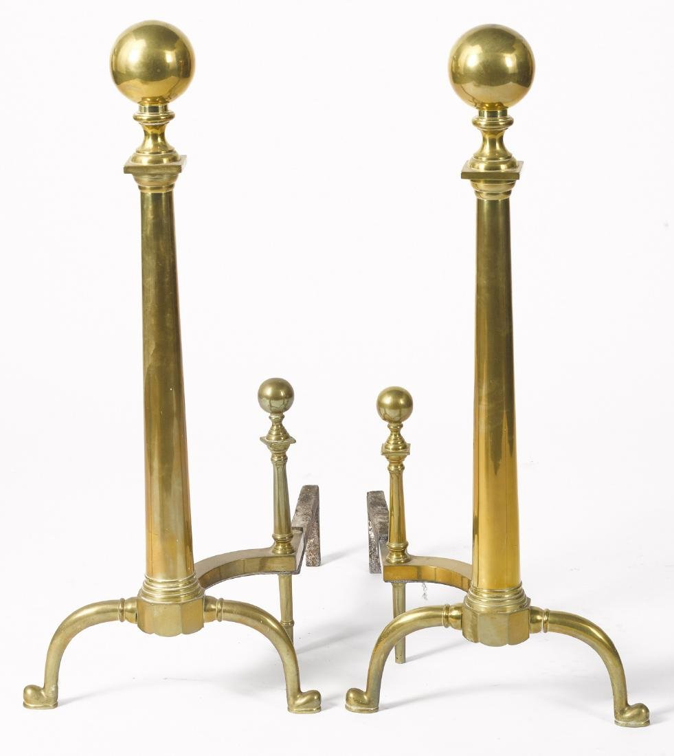 Pair of large brass andirons, 20th c., 34'' h., to