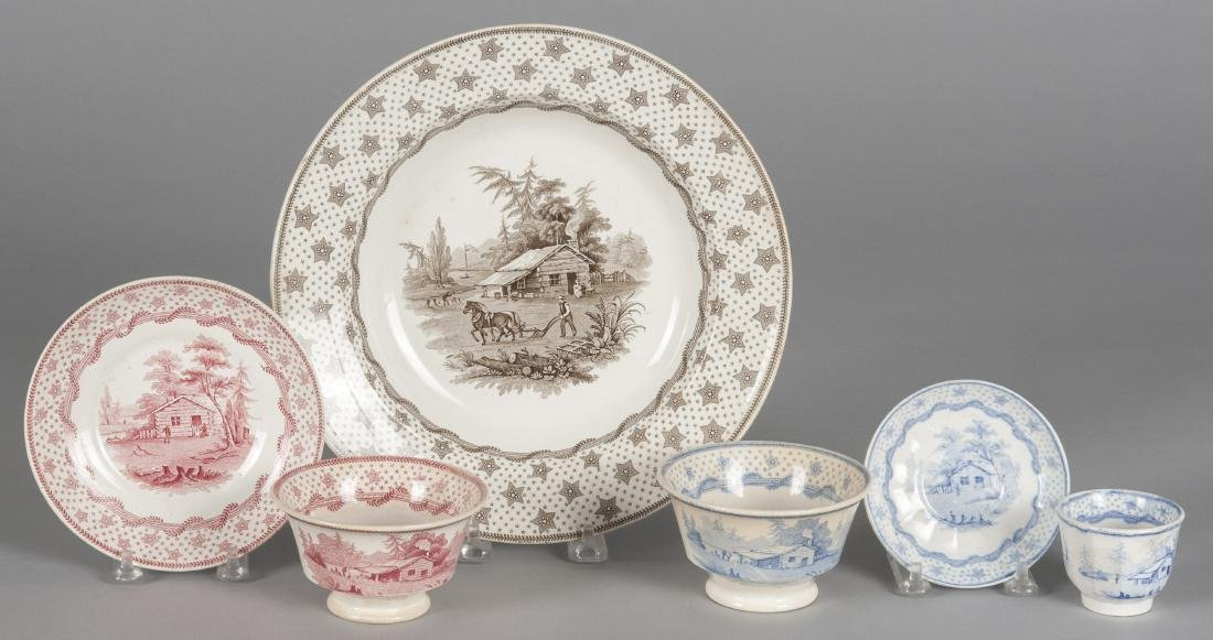 Six pieces of Columbian Star Staffordshire, soup