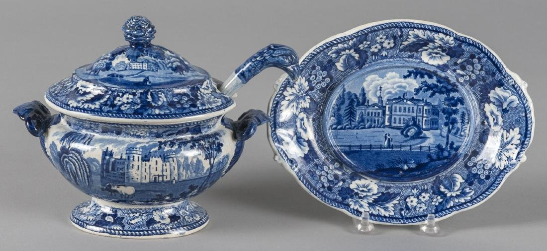 Blue Staffordshire gravy tureen, ladle, and under