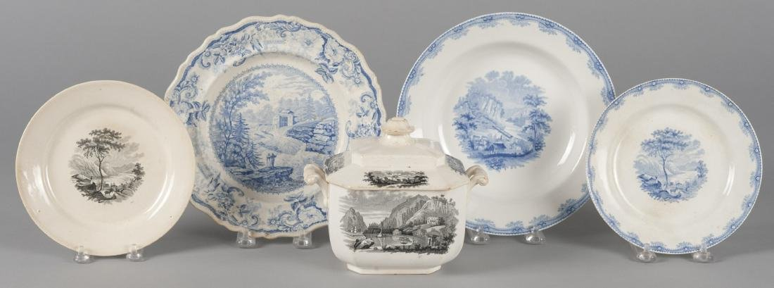 Five pieces of Historical Staffordshire, to inclu