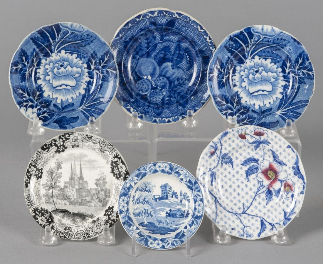 Six Staffordshire cup and toddy plates, 3'' - 4 1/