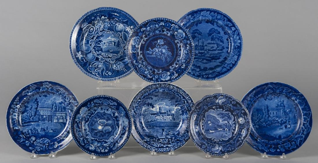 Eight blue Staffordshire plates/ soup bowls, 7 /4