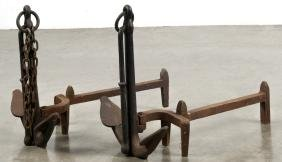 Pair of cast iron anchor andirons, 16'' h.