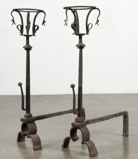 Pair of wrought iron andirons, early 20th c., in