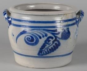 German stoneware crock with cobalt decoration, 9''