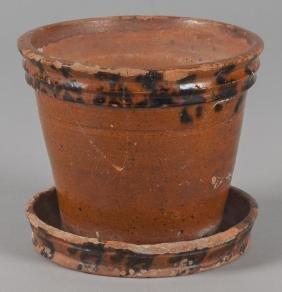 Berks County, Pennsylvania redware flowerpot, 19t