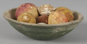 Painted wood bowl. 9'' dia., together with a group