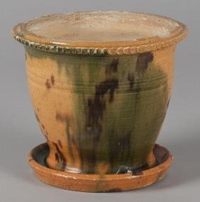 Shenandoah Valley redware flowerpot, 19th c., 6 1