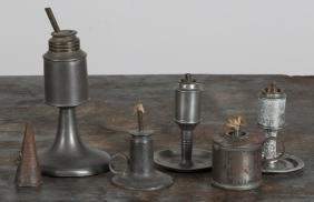 Four American pewter oil lamps, 19th c., together