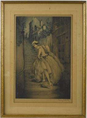 Louis Icart signed engraving, 20 1/2'' x 13 3/4''.