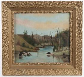 Primitive oil on canvas landscape, dated 1906,