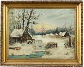 Oil on canvas primitive winter landscape, late 19