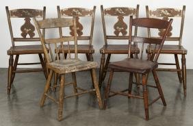 Nine assorted side chairs, 19th c.