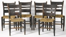Set of six rush seat dining chairs, 19th c.