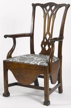 Pennsylvania Chippendale walnut necessary chair,
