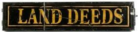 Painted tin land deeds box, 19th c., 22'' l.